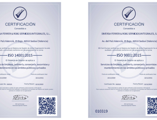 Diversa recibe los certificados ISO9001 e ISO14001